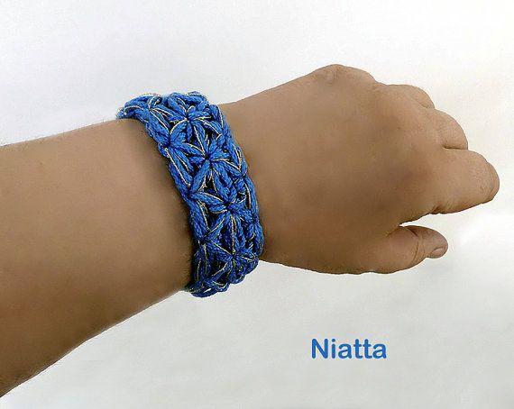 crochet bracelet gift for her lace blue gold bracelet cuff