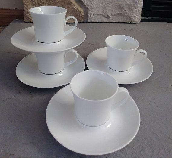 White Espresso Cups, Demitasse Cups. White Porcelain, Modern Cup Set, Espresso Cup Set, Bidasoa Cups, Spain Porcelain, Vintage, Modern Cups