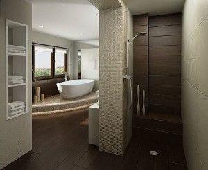 Brown tiles bathroom with door less shower Doorless Showers 300x245 Brown tiles bathroom with door less shower Doorless Showers (Idea of getting wood as a back slash?  wood planks.