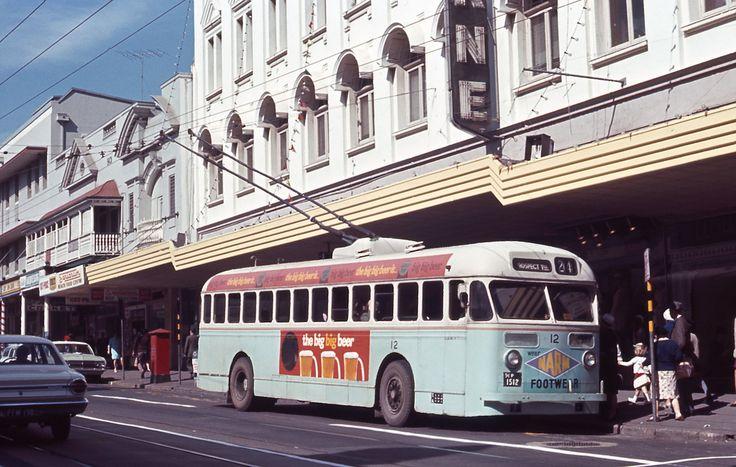Brisbane City Council (BCC) Sunbeam MF28 Trolley Bus No 12 in Brunswick Street near Wickham Street, Fortitude Valley, Brisbane, Queensland, Australia - Photo taken on 4 August, 1968