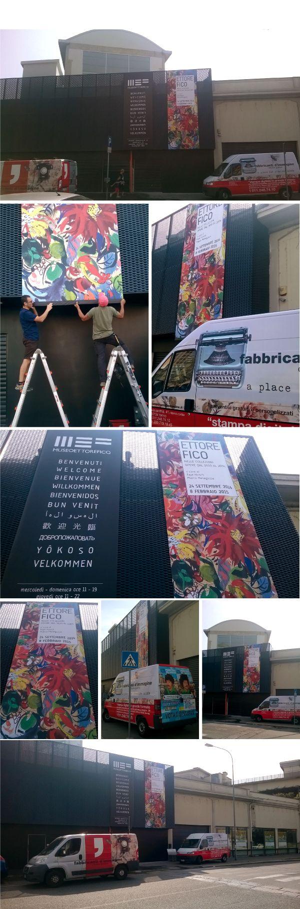 stampa digitale   decorazione facciata del Museo Ettore Fico a Torino Barriera di Milano con banner stampati su pvc