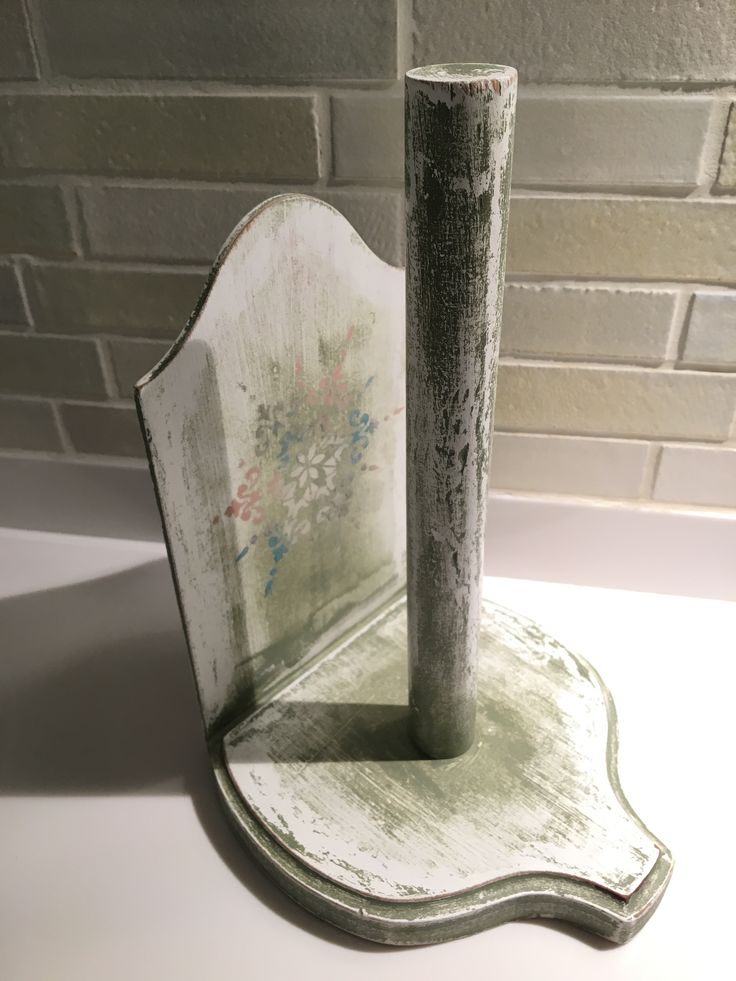 Paper towel holder. Distressed wooden painting