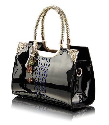 Find More Shoulder Bags Information about 2015 Women Handbags Genuine Patent leather Tote Fashion Ladies Shoulder Messenger Bag Black Hollow out Women Bag bolsa feminina,High Quality bags luxury,China handbags women bags Suppliers, Cheap handbags less from N&S Beauty Star Co. LTD on Aliexpress.com