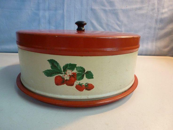 Vintage Metal Cake Carrier Strawberry Fruit.