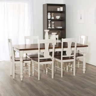 7-Piece Two Toned Solid Wood Dining Set - Brown/White | Overstock.com Shopping - The Best Deals on Dining Sets