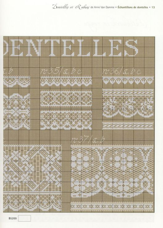 "Source of white on tan ""Cross Stitch OR Filet Crochet OR Net Darning"" patterns that I pinned."