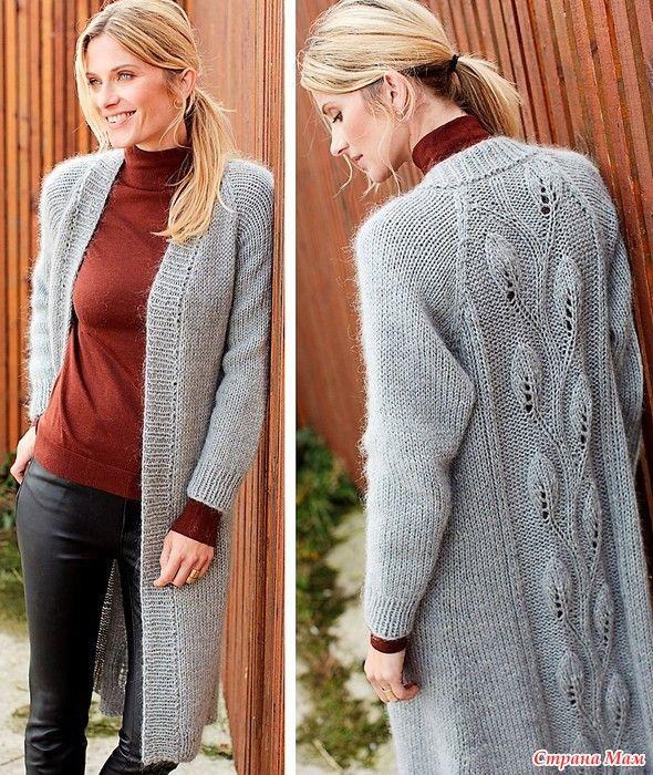 Стильное пальто с узором листочки на спинке. Спицы.