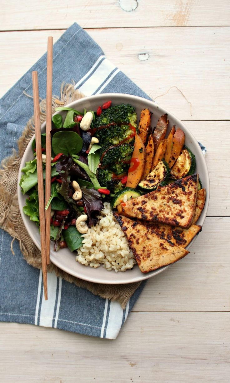 """4 Ingredient """"Crack"""" Tofu + Abundance Bowl - this tofu recipe is made in minutes, with minimal mess. Crispy on the outside, tender on the center, sweet and spicy and utterly delicious! You need to try this!"""