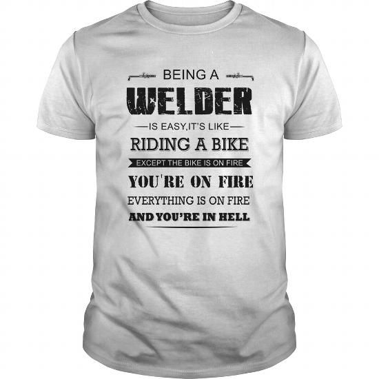 Cool Welder riding a bike Shirts & Tees #tee #tshirt #named tshirt #hobbie tshirts #riding