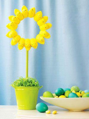 Cute Peeps Topiary DIY craft PeepsFan Great inexpensive Easter table decor