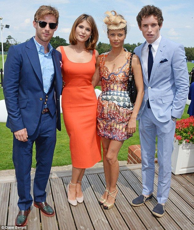 Schmoozing: The star was seen with Luke Treadaway, Thandie Newton and Eddie Redmayne as th...
