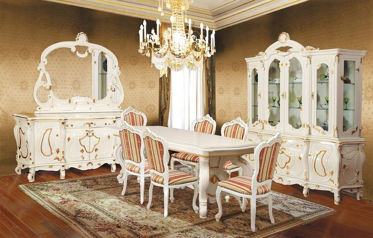 Mobila / Mobilier Sufragerie clasic masiv Nastasia alb crem