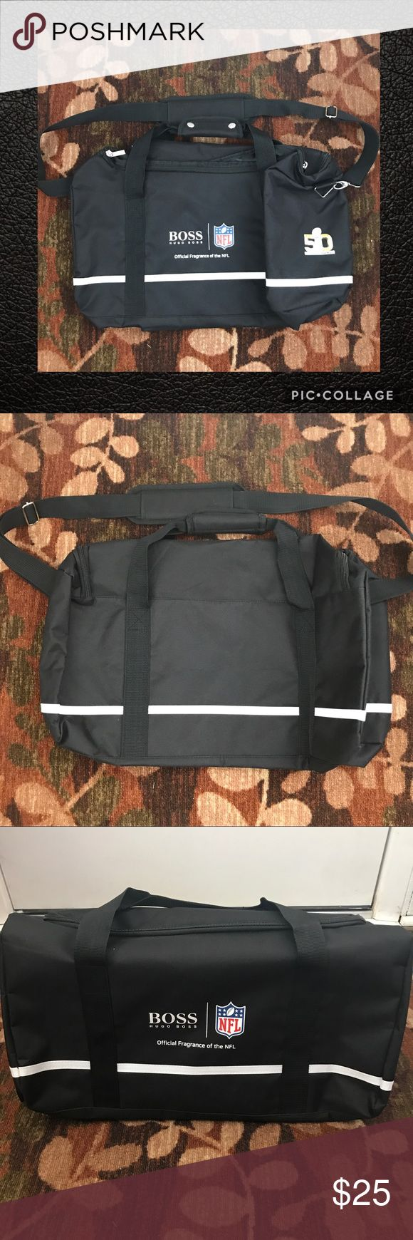 "🏈BRAND NEW MEN'S DUFFEL🏈 NWOT men's single pocket duffel bag! Dimensions when expanded are 9.5""x9.5""x20"". Has a removable adjustable padded shoulder strap. Tote handles have a snap wrap around pad for more comfortable carrying. This would be great for the gym or as a carry on travel bag! Never used, I have too many bags and I'm trying to downsize!   ❌No trades ✅REASONABLE offers through offer button only – remember Posh takes 20%! See offer chart above 🚭Smoke-free home 🚚Same or next-day…"