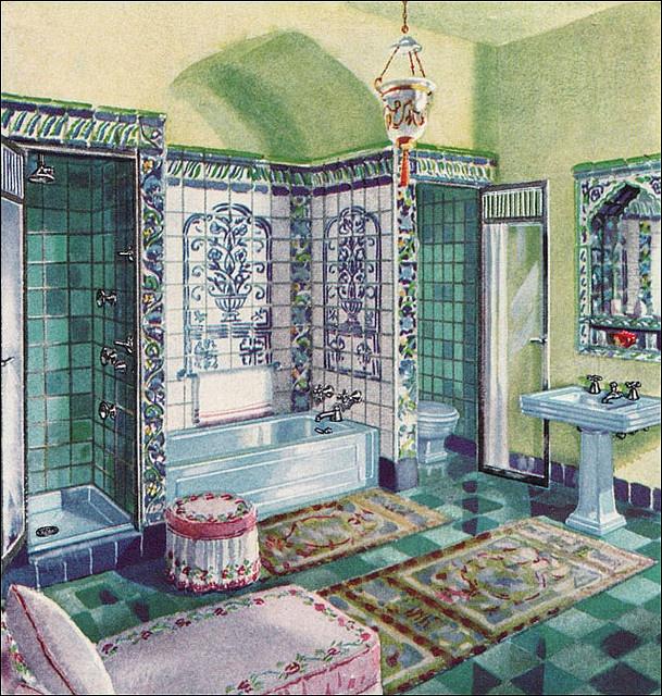 1931 Crane Bathroom–Vintage Mediterranean by American Vintage Home, via Flickr