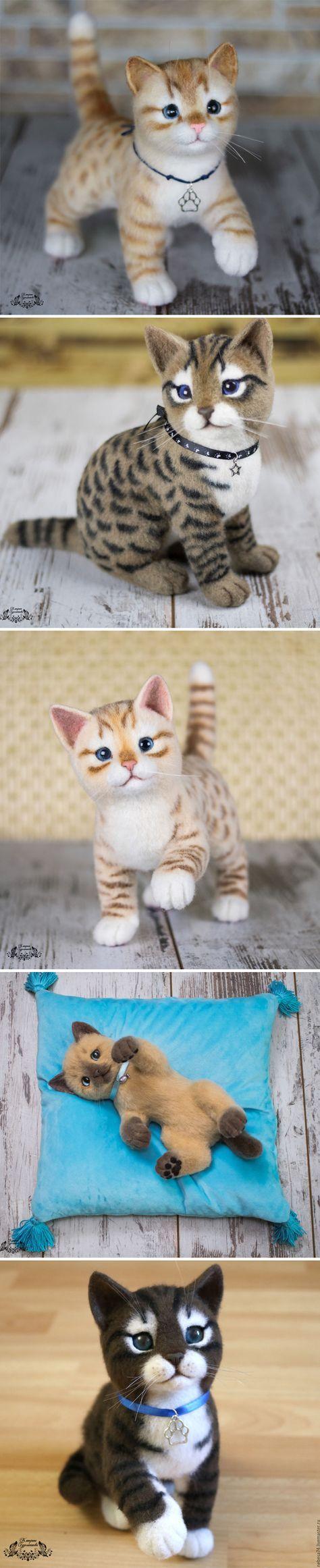 Adorable Felted Kittens | Очаровательные валяные котята — Купить, заказать, кот, кошка, котенок, валяный, валяние