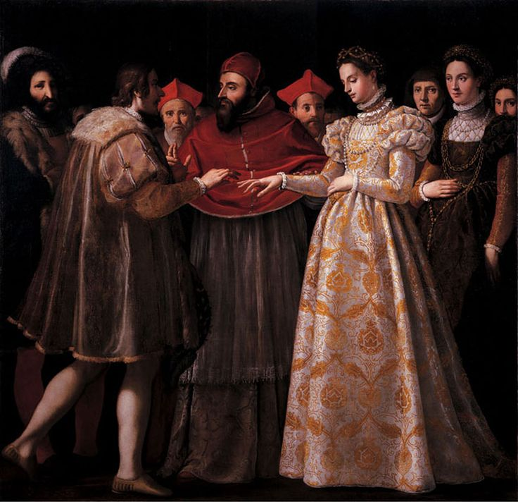 Jacopo Chimenti named l'Empoli (1551-1640), Wedding of Caterina de' Medici and Henry II, King of France, Oil on canvas, 242 x 242 cm, Galler...
