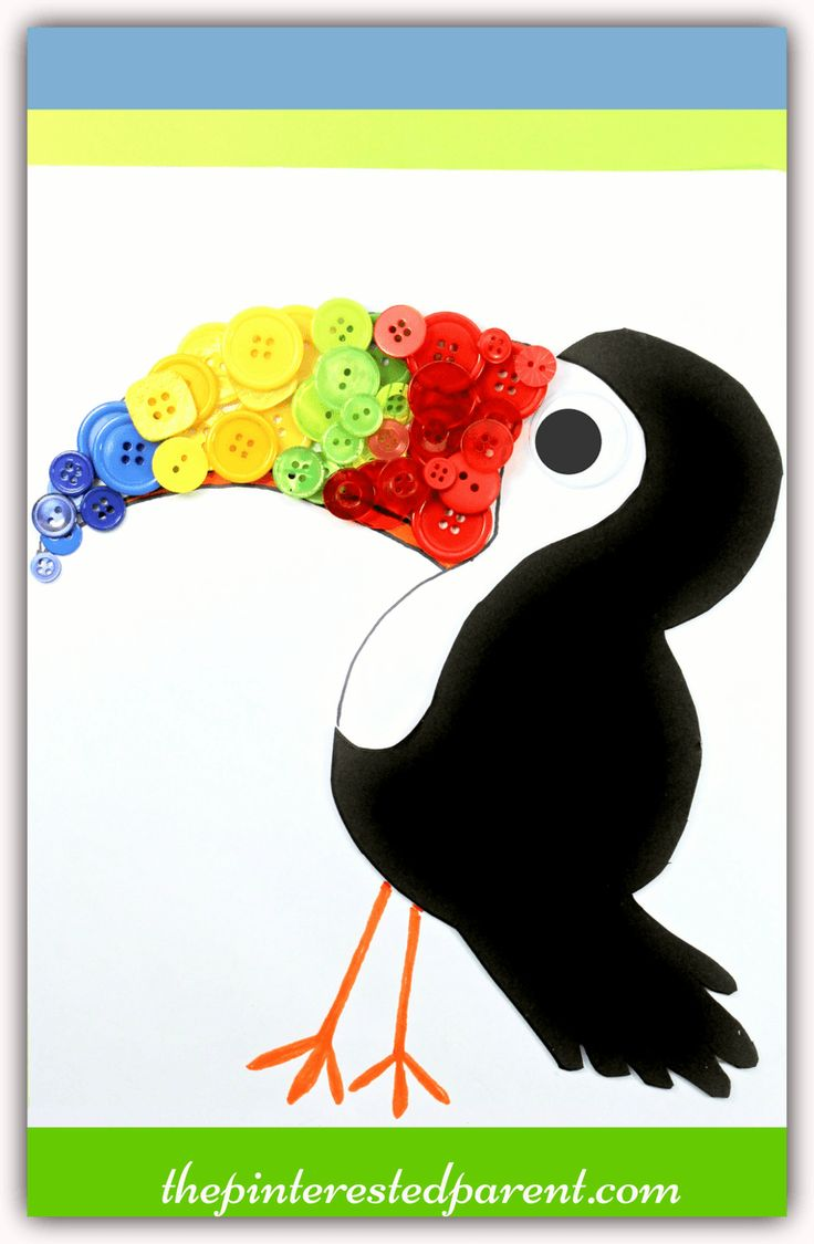 Button Toucan craft with free printable template- arts