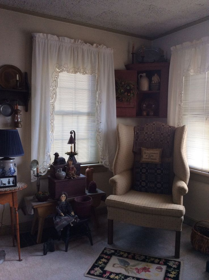 Sitting area by theresa riegal my home pinterest sitting area primitives and country - Primitive curtains for living room ...