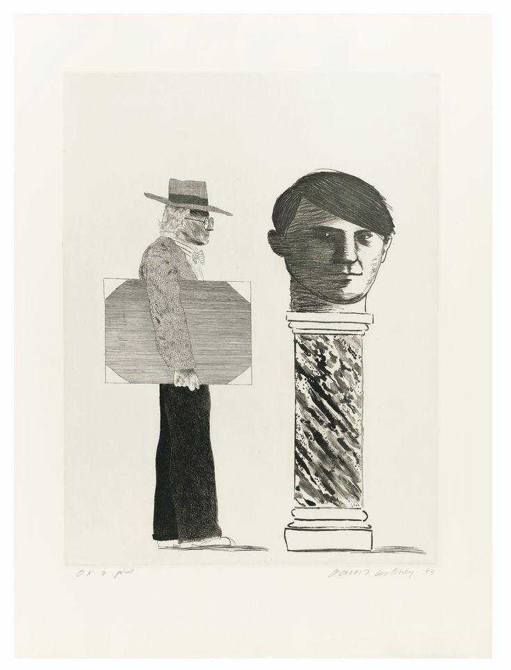 David Hockney N.1937 THE STUDENT : HOMAGE TO PICASSO DAVID HOCKNEY ; THE STUDENT : HOMAGE TO PICASSO ; ETCHING AND AQUATINT ; SIGNED ; 1973 ; WOVE PAPER Estimate: 6,000 - 8,000 EUR LOT SOLD. 16,250 EUR (Hammer Price with Buyer's Premium) (S.A.C. 153) Eau-forte et aquatinte, 1973, impression atelier Crommelynck, signée au crayon, datée et annotée O.K to print, en dehors des 100 épreuves numérotées, sur papier vélin Planche : 575 x 440 mm ; 22 3/4 by 17 1/4 in Feuille : 753 x 568 mm ; 2
