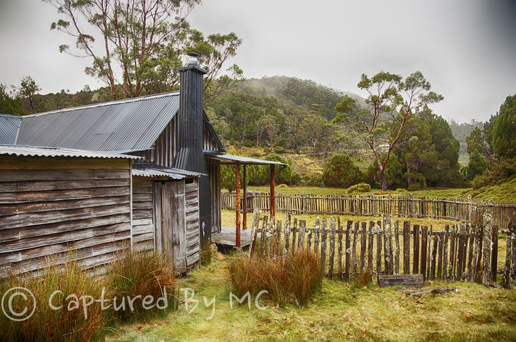 Rustic mount Kate's hut in the beautiful Tasmanian wilderness. Prints available from our website.