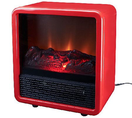 "Duraflame1500W Small Portable Heater with Realistic Flame Effect.  13""W x 8-1/8""L x 14-3/4""H, weighs 10.6 lbs; Cord 6-1/2'L"