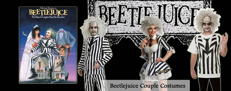 Beetlejuice, Beetlejuice, Beetlejuice.  This Beetlejuice Couples Costume combination is popular from the movie as well as the black and white theme.  There are two versions for the guy.  One is a full costume while the other is basically a T-Shirt.  Prices start at $93.90 for two costumes with Free Shipping.  Like us on Facebook at checkout for instant savings.  Shop with us today!