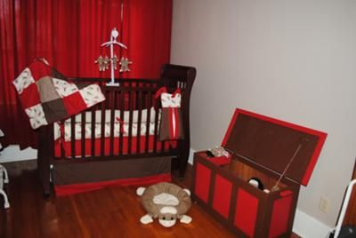 Baby Morrow's Sock Monkey Nursery w Homemade Sock Monkey Mobile:   We decided to go with a sock monkey nursery theme for our baby boy's room when we learned that we are expecting a son after being together for 13 years!
