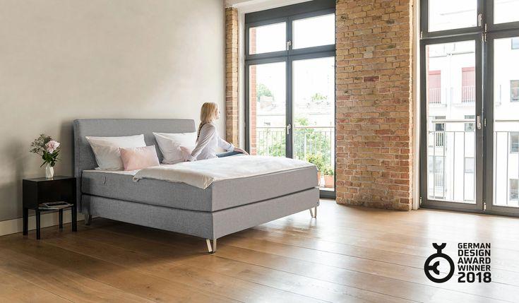 das bruno boxspringbett in hellgrau mit dem kopfteil klassik bruno boxspringbett pinterest. Black Bedroom Furniture Sets. Home Design Ideas