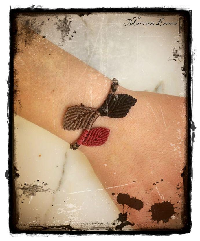 ...Macrame Bracelet with Leaves..by MacramEmma..