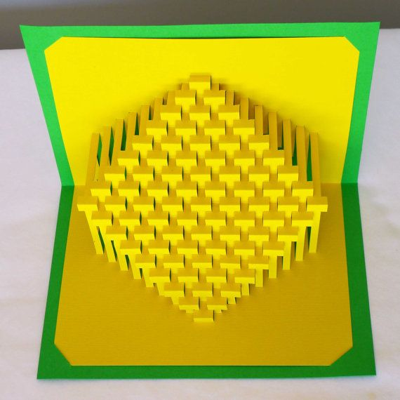 9x9 Straight Diamond : kirigami pop-up paper sculpture