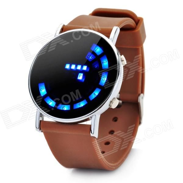 Model: I-91205150041; Quantity: 1 Piece; Color: Brown + Silver; Band Material: Silicone; Suitable for: Adults; Gender: Unisex; Style: Wrist Watch; Type: Fashion Watches; Display: Digital; Backlight: Blue; Movement: LED; Display Format: 12 hour format; Water Resistant: Daily Water Resistant (not for Swimming); Dial Diameter: 4 cm; Dial Thickness: 1 cm; Band Length: 24 cm; Battery: 1 x CR2016 (inclued); Packing List: 1 x LED wrist watch; 1 x Chinese / English user manual; http://j.mp/1tpdHGO