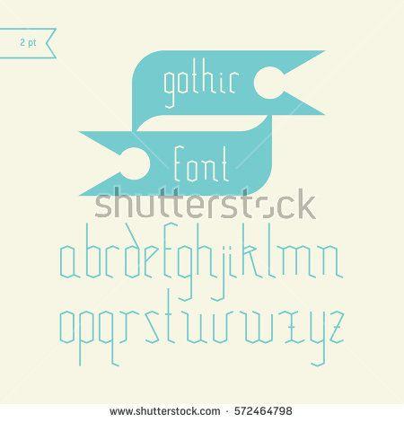 Old style antique Gothic Font. Vector light alphabet set. Minimal. Latin alphabet letters. Simple stylized mono line goth font, typeface, typography, typewriter.