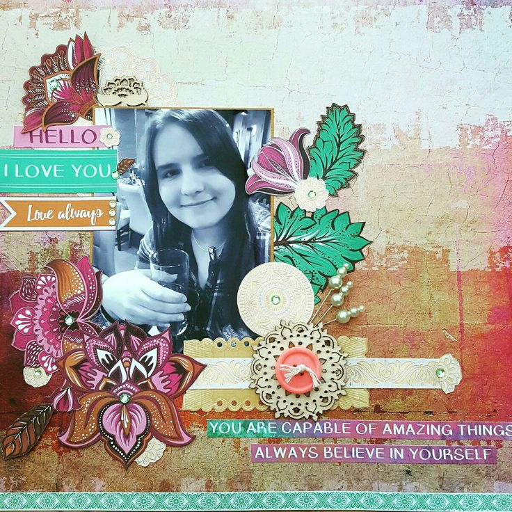 """Scrapbook layout """"Hello I Love you"""" by Cal Summers for Charmed Cards and Crafts monthly kit. Showcasing Kaisercraft Bombay Sunset. Www.charmedcardsandcrafts.co.uk www.calsummers.co.uk"""