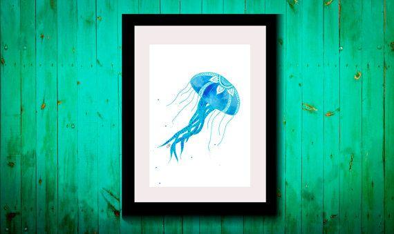 Wall Art,Drawing,Illustration,Zentangle,Art,Print,Home Decor,Wall Decor,Modern,Creative,Gift Idea,Hand drawn,Popular,Jellyfish,Ocean,Sea