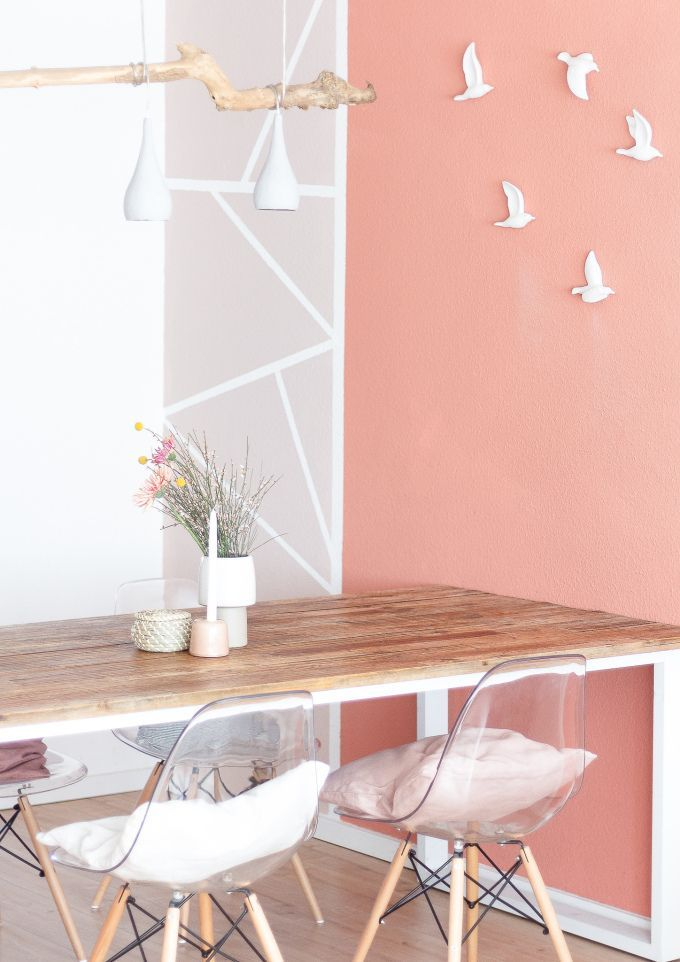 Idee für geometrische Wandgestaltung ° Kreativ arbeiten mit Mustern und Farbe