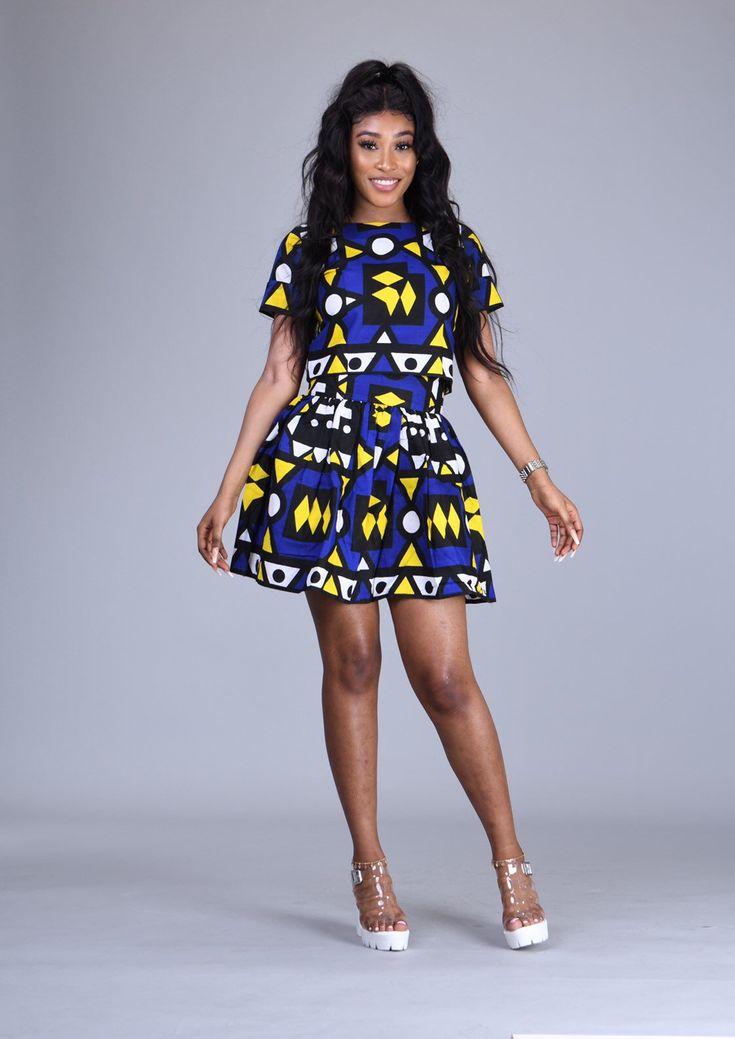 Iko African print samakaka Ankara 2-piece samacaca skater skirt and crop top Angolan matching set