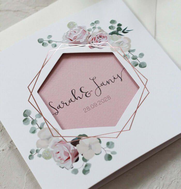 Hochzeitseinladungen Kupfer oder Roségold   – Hochzeitskarten und Co.