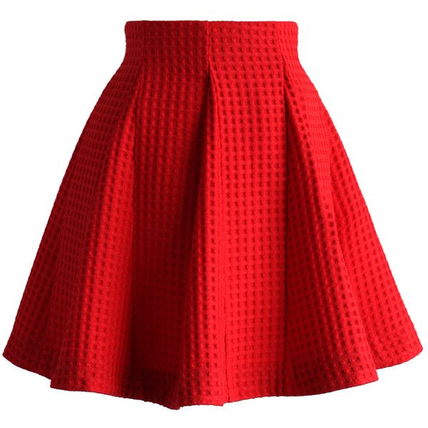 Chicwish Red Skater Skirt in Waffle Pattern ($42) ❤ liked on Polyvore featuring skirts, bottoms, saias, red, red skirt, flared skater skirt, red flare skirt, flared mini skirt and print skirt