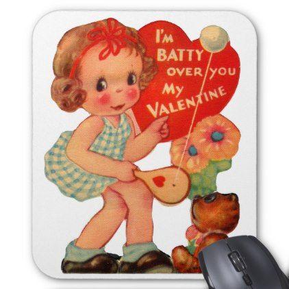 Vintage Old Valentine Little Girl Mouse Pad - Saint Valentine's Day gift idea couple love girlfriend boyfriend design