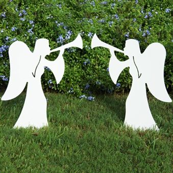 Outdoor Nativity Silhouettes | Medium Nativity Angel 2 Piece Silhouette Set - American Sale