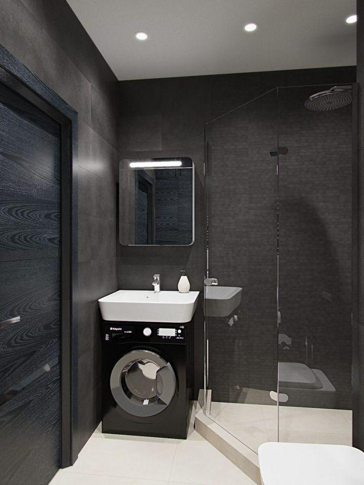 Контрастный белый умывальник в миниатюрной ванной комнате