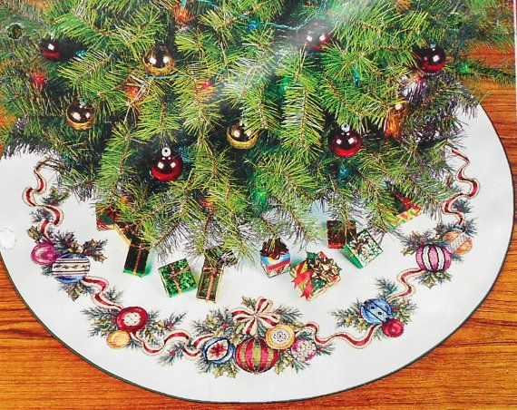 Needle Treasures DAZZLING ORNAMENTS Christmas Tree SKIRT - Counted Cross Stitch Pattern Chart Kit - By Joan Marchie