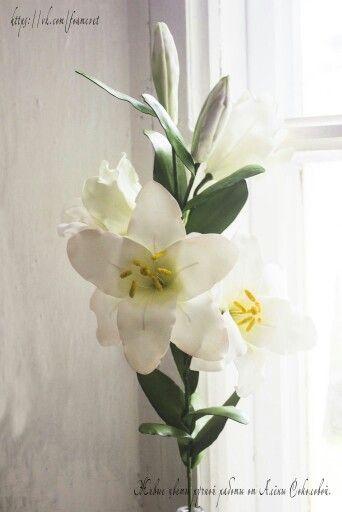 """Интерьерный цветок """"Лилия Аполо"""". #фоамиран #лилия #белаялилия #интерьер #дизайн #цветок #красота #ручнаяработа #happy #handmade #lily #interior #decor #decoration"""