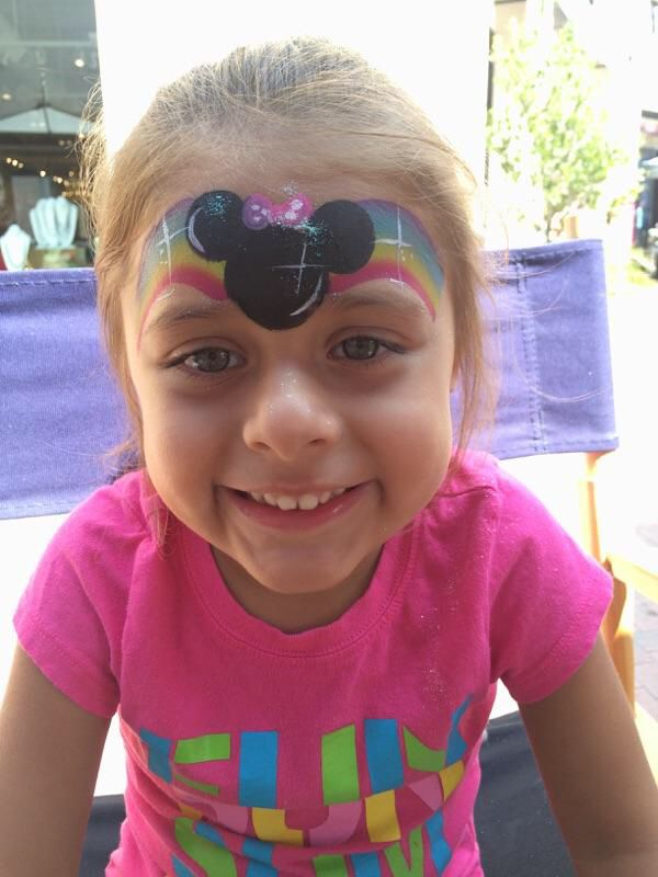 One minute Minnie Mouse inspired face painting. One stroke ...