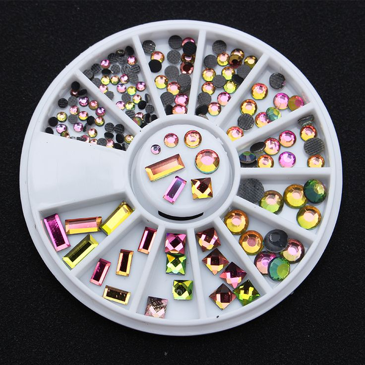 1 Box Colorful Flame Rhinestone Square Round Flat Bottom 3D Decoration In Wheel Manicure Nail Art Decor #Affiliate