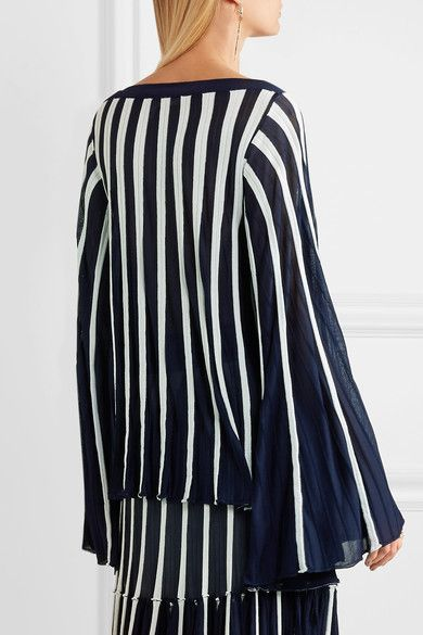 Chloé - Pleated Stretch-knit Top - Navy - large