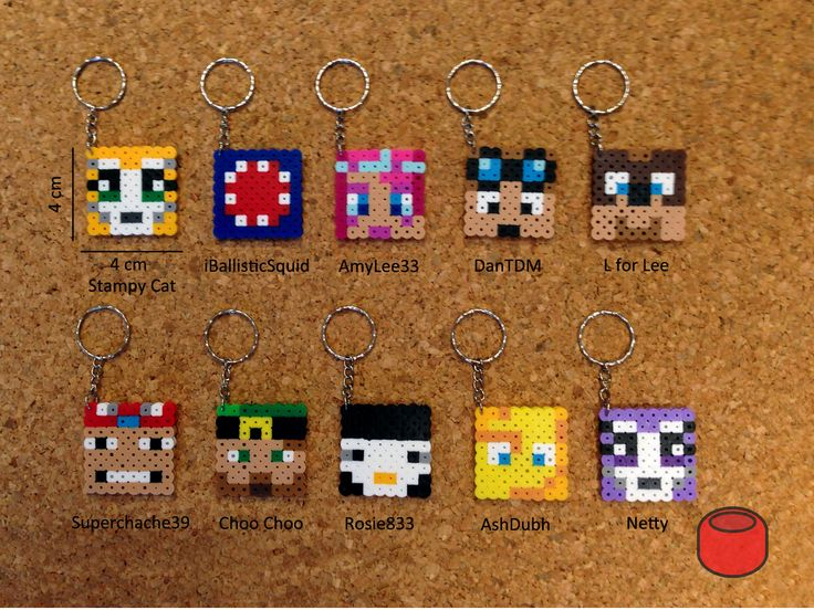 Stampy Cat, iBallisticSquid and Friends: AmyLee, DanTDM, L for Lee, Superchache, Choo Choo, Rosie the Penguin, AshDubh, and Netty - Minecraft keychains Perler beads  by DJbits