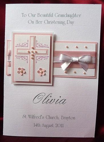 Personalised Handmade Christening Card Girl Granddaughter Goddaughter (1539Pink) | eBay