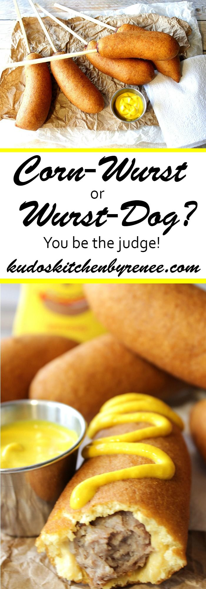 My Kudos Kitchen recipe for Bratwurst on a Stick with Fried Cornmeal Beer Batter…