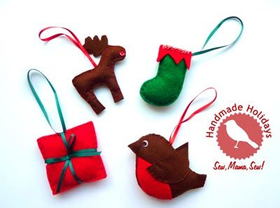 Hand-Stitched Ornaments free templates || Angharad for Sew,Mama,Sew!